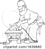 Cartoon Black And White Male Carpenter Working With A Circular Saw