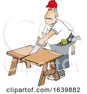 Cartoon White Male Carpenter Using A Saw