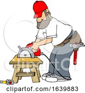Poster, Art Print Of Cartoon White Male Carpenter Working With A Circular Saw