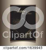 Poster, Art Print Of Save The Date Invitation With A Gold Glittery Design
