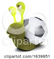 3d Funny Cartoon Snail Bug Character Carrying A Football Instead Of A Shell by Steve Young