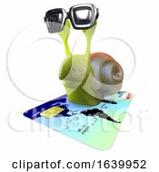 3d Funny Cartoon Snail Character Flying On A Debit Card by Steve Young