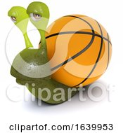 3d Funny Cartoon Snail With A Basketball Instead Of A Shell by Steve Young
