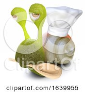 3d Funny Cartoon Snail Bug Wearing A Chefs Hat And Carrying Wooden Spoon
