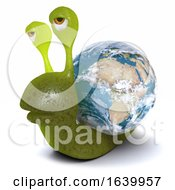 3d Funny Cartoon Snail Character Carrying The World On His Back