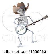 3d Cowboy Skeleton Dances While He Plays The Banjo Ukulele by Steve Young