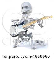 3d Skeleton On Its Knees Playing Electrir Guitar by Steve Young