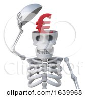 3d Skeleton Has A Euro Currency Symbol Inside His Head