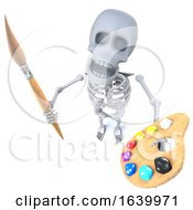 3d Funny Cartoon Skeleton Artist Holding A Paint Brush And Palette