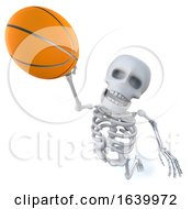 3d Funny Cartoon Skeleton Shoots A Basketball