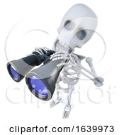 3d Funny Cartoon Skeleton Character Holding A Pair Of Binoculars by Steve Young