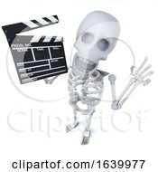 3d Funny Cartoon Skeleton Character Maing A Movie With A Clapperboard by Steve Young