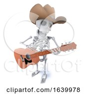 3d Funny Cartoon Skeleton Character Wearing A Cowboy Hat And Playing Guitar