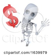3d Funny Cartoon Spooky Skeleton Character Holding A US Dollar Currency Symbol by Steve Young