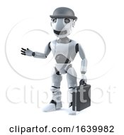 3d Business Robot With Bowler Hat And Briefcase