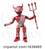 3d Devil Robot With Horns And Trident