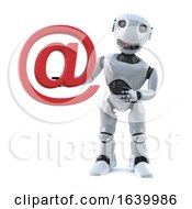 3d Robot Holds An Email Address Symbol