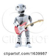 3d Robot Plays Electric Guitar