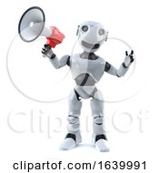 3d Robot Using A Megaphone To Make An Announcement