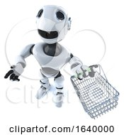 3d Cartoon Robot Man Carrying A Shopping Basket