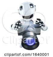 3d Funny Cartoon Robot Character Taking A Photo With A Camera