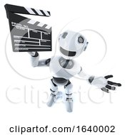 3d Funny Robot Character Holding A Movie Making Clapperboard