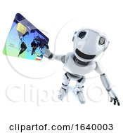 3d Funny Cartoon Mechanical Robot Character Paying With A Debit Card