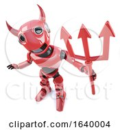 3d Funny Cartoon Demonic Devil Robot Waving A Satanic Trident