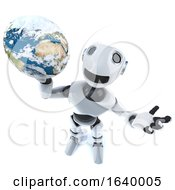 3d Cool Robot Mechanical Man Holding A Globe Of The World