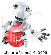 3d Funny Cartoon Robot Character Holding A Euro Currency Symbol