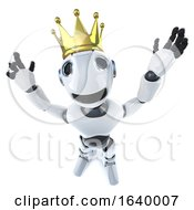 3d Funny Cartoon Robot Character Wearing A Royal Gold Crown Of Success