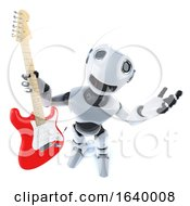 3d Cool Robot Mechanical Man Holding An Electric Guitar