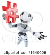 3d Cool Robot Mechanical Man Holding A Hashtag Symbol