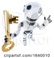 3d Funny Cartoon Robot Character Holding A Gold Key