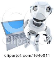 3d Funny Cartoon Robot Character Holding A Laptop Pc Computer Device