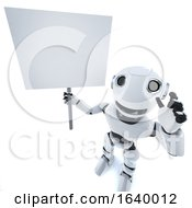 3d Funny Cartoon Robot Character Holding A Placard by Steve Young