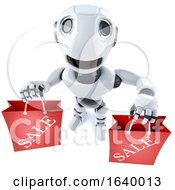 3d Funny Cartoon Robot Character Carrying Two Shopping Sale Bags by Steve Young
