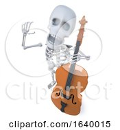 3d Funny Cartoon Robot Character Playing A Double Bass