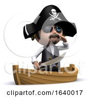 Funny Cartoon 3d Pirate Character Sailing In His Boat