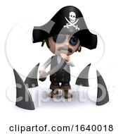 Funny Cartoon 3d Pirate Captain Character Surrounded By Sharks