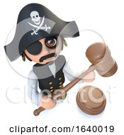 3d Funny Cartoon Pirate Captain Holding An Auction