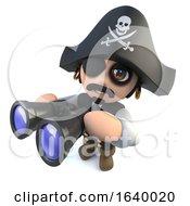 3d Funny Cartoon Pirate Captain Looking Through Binoculars