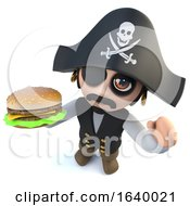 3d Funny Cartoon Pirate Captain Holding A Beef Burger