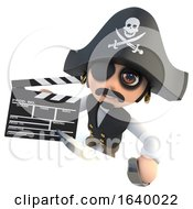 3d Funny Cartoon Pirate Captain Making A Movie With A Clapperboard
