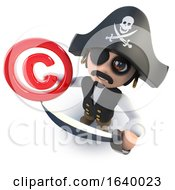 3d Funny Cartoon Pirate Captain Holding A Copyright Symbol