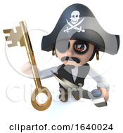 3d Funny Cartoon Pirate Captain Character Holding A Gold Key