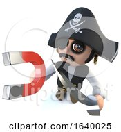 3d Funny Cartoon Pirate Captain Character Holding A Magnet by Steve Young