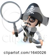 3d Funny Cartoon Pirate Captain Character Holding A Magnifying Glass