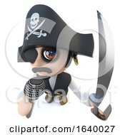 3d Funny Cartoon Pirate Captain Character Singing Into A Microphone