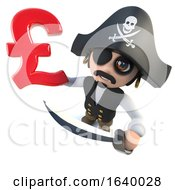 Funny 3d Cartoon Pirate Captain Holding A UK Pounds Sterling Currency Symbol